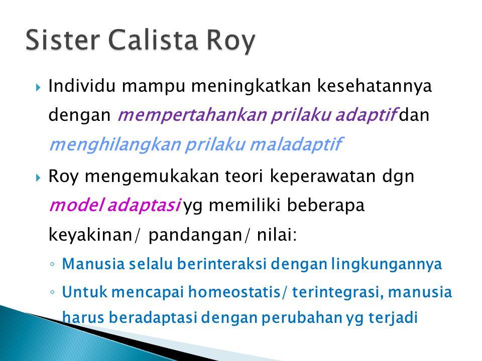 Sister Calista Roy Individu mampu meningkatkan kesehatannya dengan mempertahankan prilaku adaptif dan menghilangkan prilaku maladaptif.