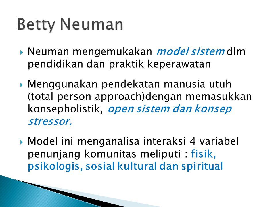 Betty Neuman Neuman mengemukakan model sistem dlm pendidikan dan praktik keperawatan.