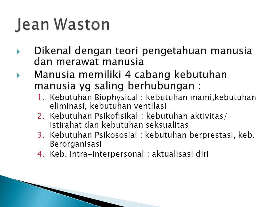 Jean Waston Dikenal dengan teori pengetahuan manusia dan merawat manusia. Manusia memiliki 4 cabang kebutuhan manusia yg saling berhubungan :