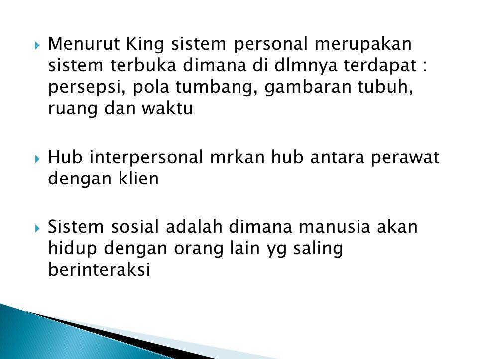 Menurut King sistem personal merupakan sistem terbuka dimana di dlmnya terdapat : persepsi, pola tumbang, gambaran tubuh, ruang dan waktu
