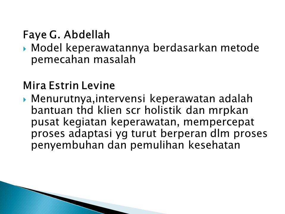 Faye G. Abdellah Model keperawatannya berdasarkan metode pemecahan masalah. Mira Estrin Levine.
