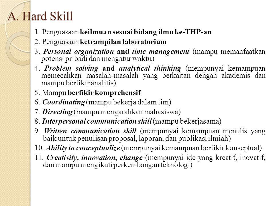 A. Hard Skill 1. Penguasaan keilmuan sesuai bidang ilmu ke-THP-an