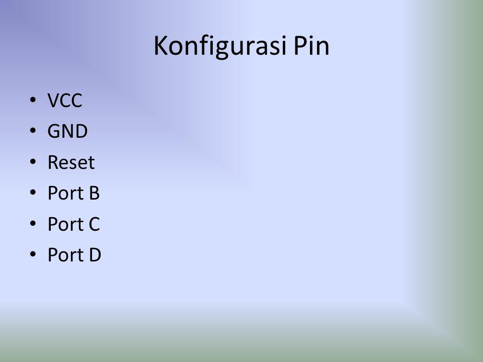 Konfigurasi Pin VCC GND Reset Port B Port C Port D