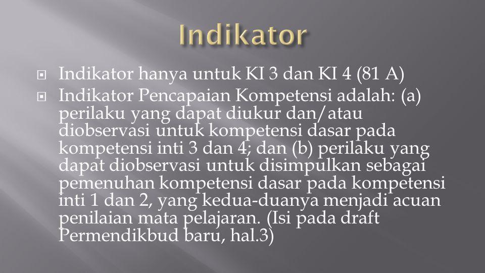 Indikator Indikator hanya untuk KI 3 dan KI 4 (81 A)