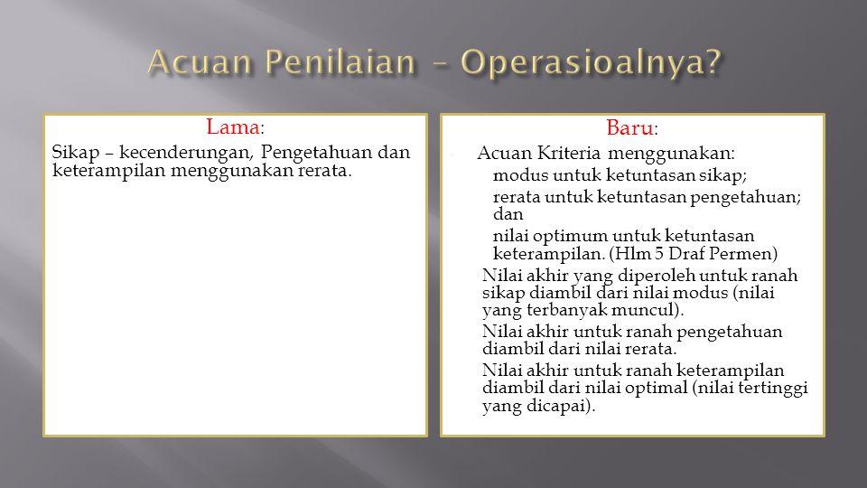 Acuan Penilaian – Operasioalnya