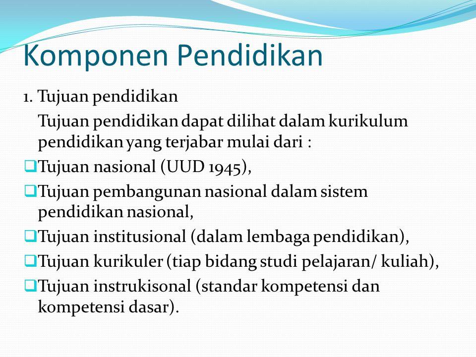 Komponen Pendidikan 1. Tujuan pendidikan