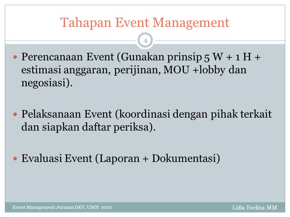 Tahapan Event Management