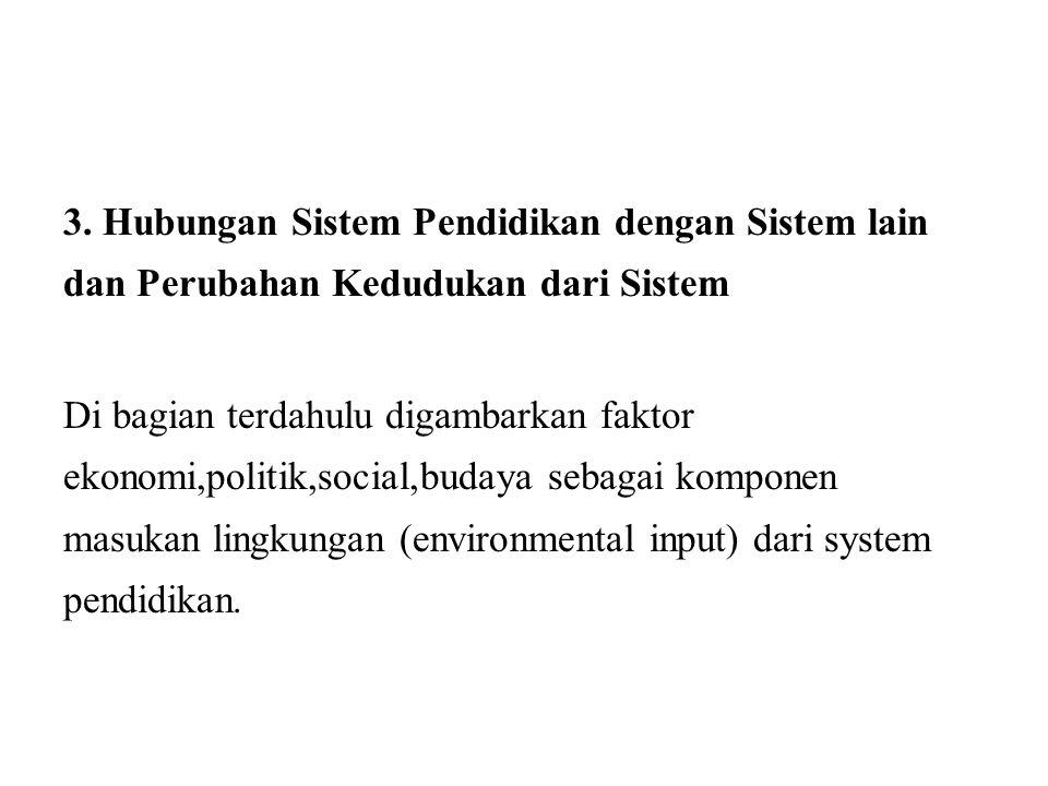3. Hubungan Sistem Pendidikan dengan Sistem lain dan Perubahan Kedudukan dari Sistem