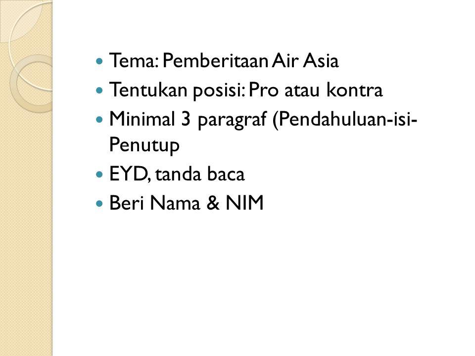 Tema: Pemberitaan Air Asia