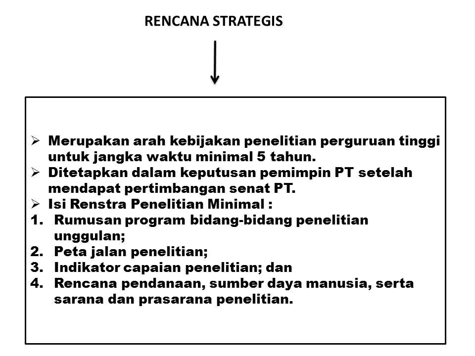 RENCANA STRATEGIS Merupakan arah kebijakan penelitian perguruan tinggi untuk jangka waktu minimal 5 tahun.