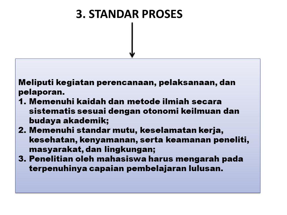 3. STANDAR PROSES Meliputi kegiatan perencanaan, pelaksanaan, dan pelaporan.