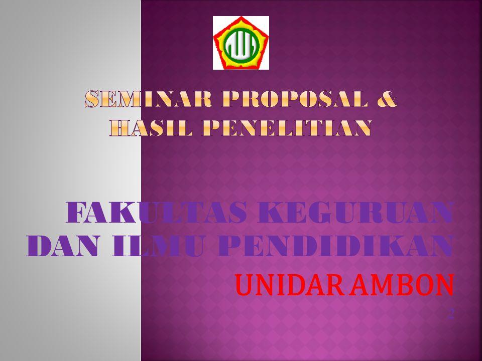 SEMINAR PROPOSAL & HASIL PENELITIAN