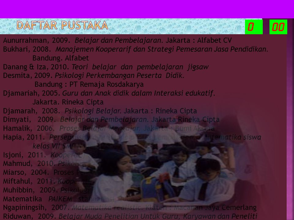 DAFTAR PUSTAKA Aunurrahman, 2009. Belajar dan Pembelajaran. Jakarta : Alfabet CV.