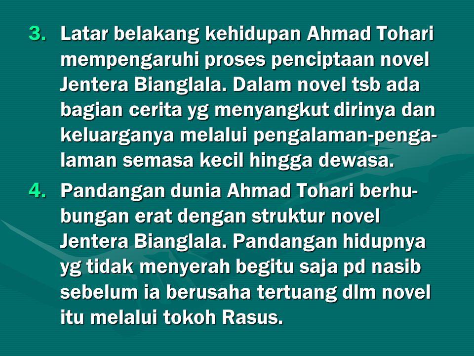 Latar belakang kehidupan Ahmad Tohari mempengaruhi proses penciptaan novel Jentera Bianglala. Dalam novel tsb ada bagian cerita yg menyangkut dirinya dan keluarganya melalui pengalaman-penga-laman semasa kecil hingga dewasa.
