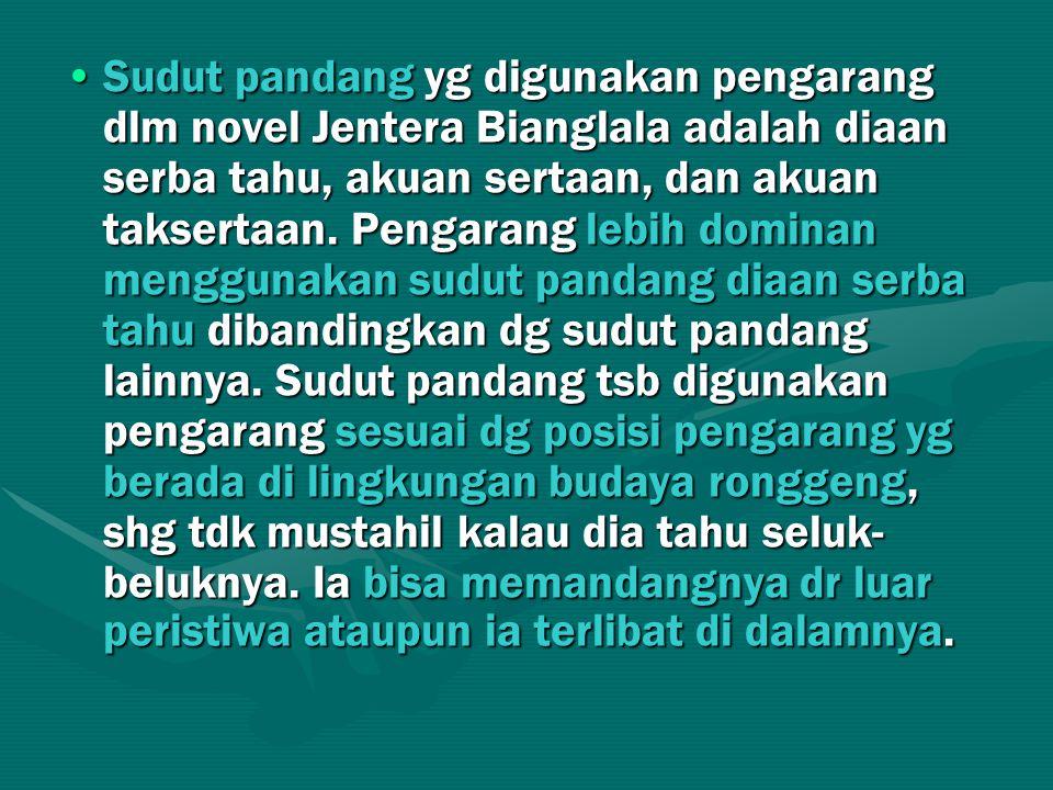 Sudut pandang yg digunakan pengarang dlm novel Jentera Bianglala adalah diaan serba tahu, akuan sertaan, dan akuan taksertaan.