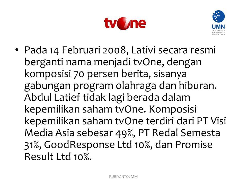 Pada 14 Februari 2008, Lativi secara resmi berganti nama menjadi tvOne, dengan komposisi 70 persen berita, sisanya gabungan program olahraga dan hiburan. Abdul Latief tidak lagi berada dalam kepemilikan saham tvOne. Komposisi kepemilikan saham tvOne terdiri dari PT Visi Media Asia sebesar 49%, PT Redal Semesta 31%, GoodResponse Ltd 10%, dan Promise Result Ltd 10%.