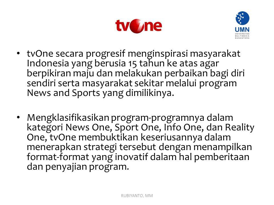 tvOne secara progresif menginspirasi masyarakat Indonesia yang berusia 15 tahun ke atas agar berpikiran maju dan melakukan perbaikan bagi diri sendiri serta masyarakat sekitar melalui program News and Sports yang dimilikinya.