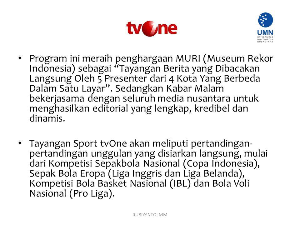 Program ini meraih penghargaan MURI (Museum Rekor Indonesia) sebagai Tayangan Berita yang Dibacakan Langsung Oleh 5 Presenter dari 4 Kota Yang Berbeda Dalam Satu Layar . Sedangkan Kabar Malam bekerjasama dengan seluruh media nusantara untuk menghasilkan editorial yang lengkap, kredibel dan dinamis.