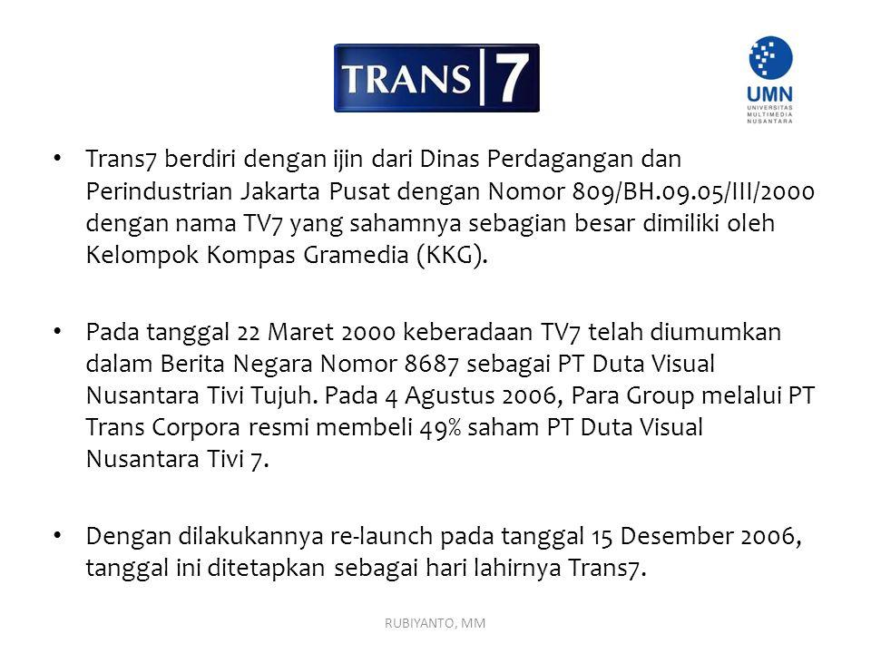 Trans7 berdiri dengan ijin dari Dinas Perdagangan dan Perindustrian Jakarta Pusat dengan Nomor 809/BH.09.05/III/2000 dengan nama TV7 yang sahamnya sebagian besar dimiliki oleh Kelompok Kompas Gramedia (KKG).