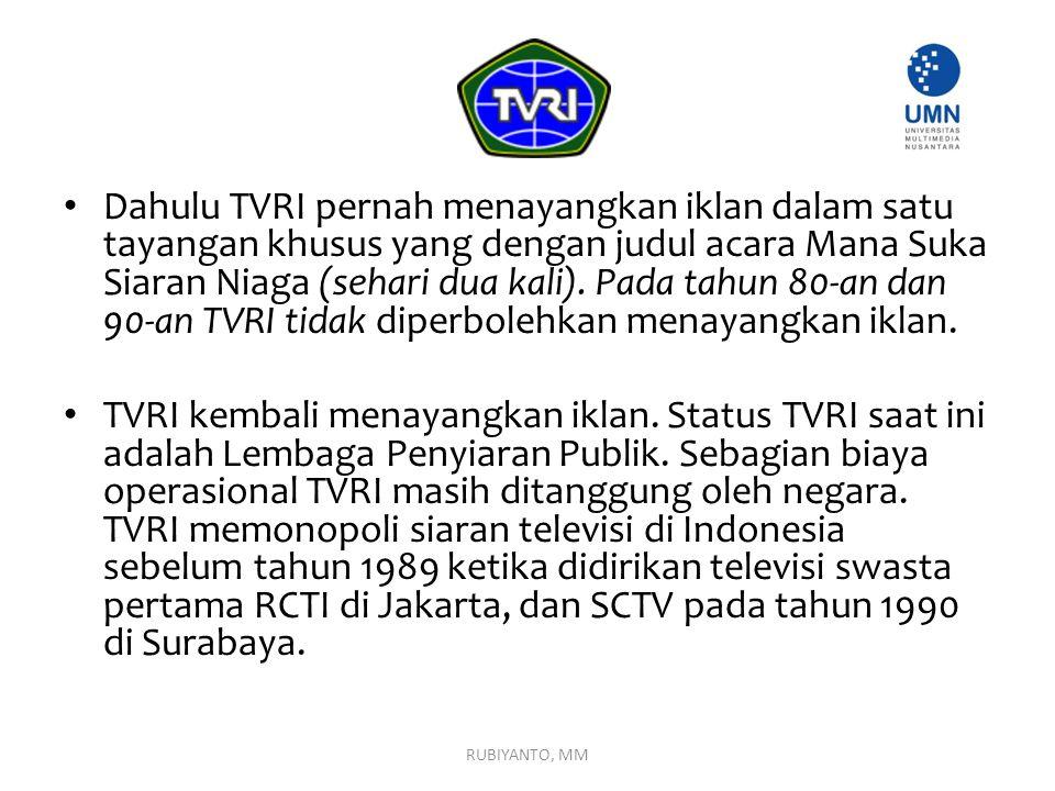 Dahulu TVRI pernah menayangkan iklan dalam satu tayangan khusus yang dengan judul acara Mana Suka Siaran Niaga (sehari dua kali). Pada tahun 80-an dan 90-an TVRI tidak diperbolehkan menayangkan iklan.