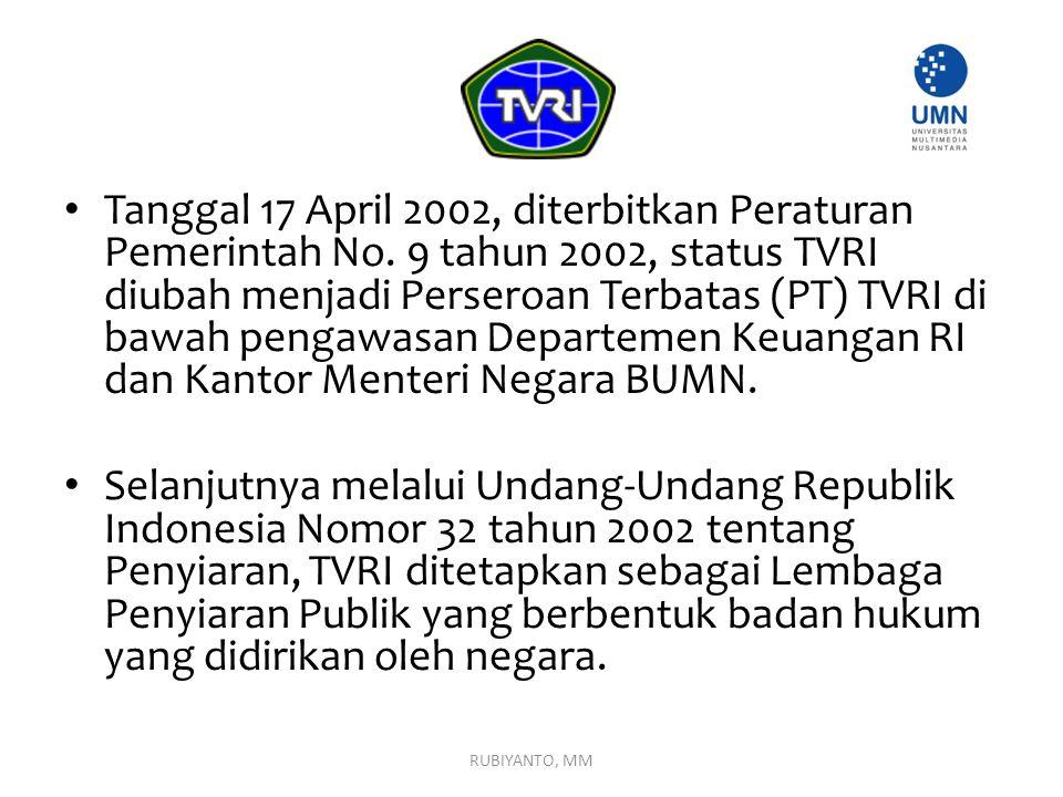 Tanggal 17 April 2002, diterbitkan Peraturan Pemerintah No