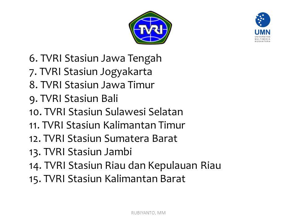 7. TVRI Stasiun Jogyakarta 8. TVRI Stasiun Jawa Timur