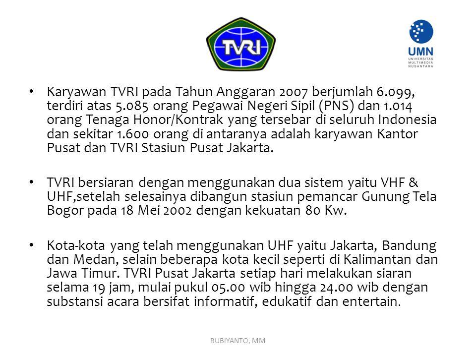 Karyawan TVRI pada Tahun Anggaran 2007 berjumlah 6.099, terdiri atas 5.085 orang Pegawai Negeri Sipil (PNS) dan 1.014 orang Tenaga Honor/Kontrak yang tersebar di seluruh Indonesia dan sekitar 1.600 orang di antaranya adalah karyawan Kantor Pusat dan TVRI Stasiun Pusat Jakarta.
