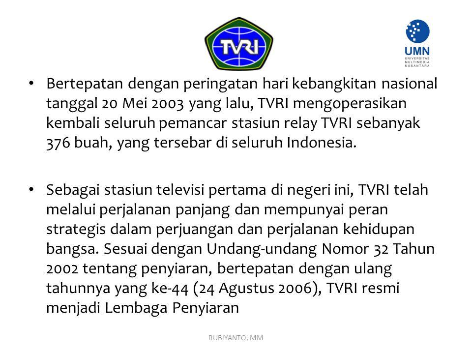 Bertepatan dengan peringatan hari kebangkitan nasional tanggal 20 Mei 2003 yang lalu, TVRI mengoperasikan kembali seluruh pemancar stasiun relay TVRI sebanyak 376 buah, yang tersebar di seluruh Indonesia.