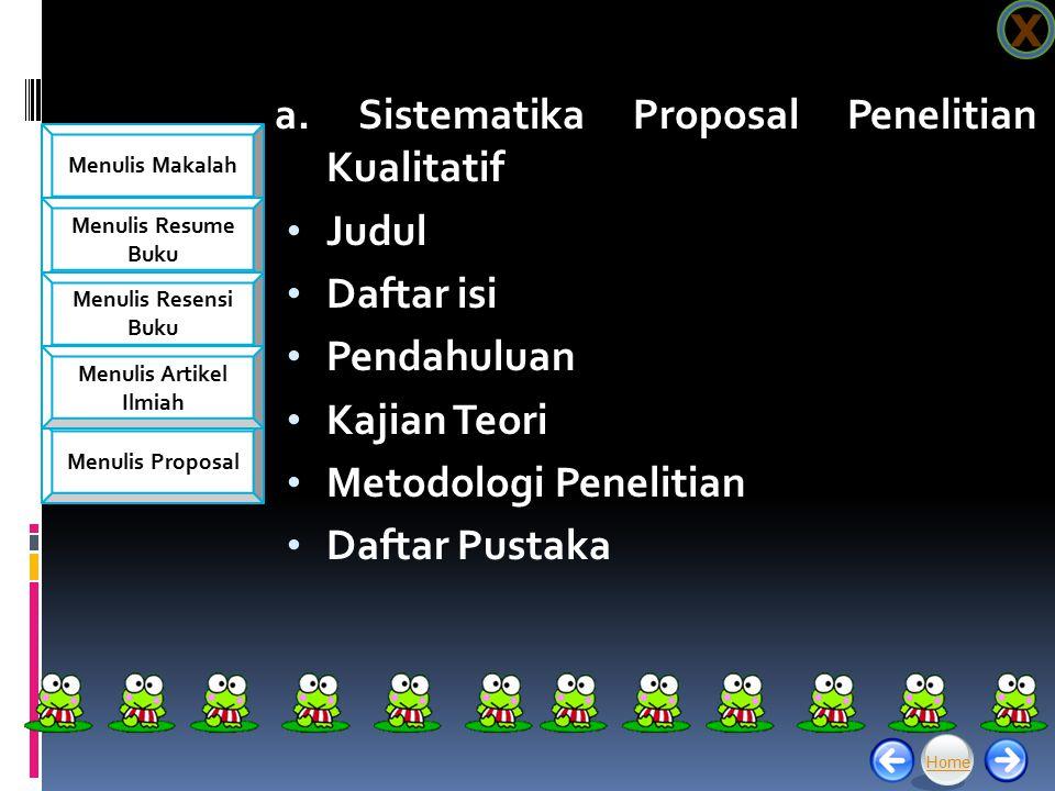 a. Sistematika Proposal Penelitian Kualitatif Judul Daftar isi