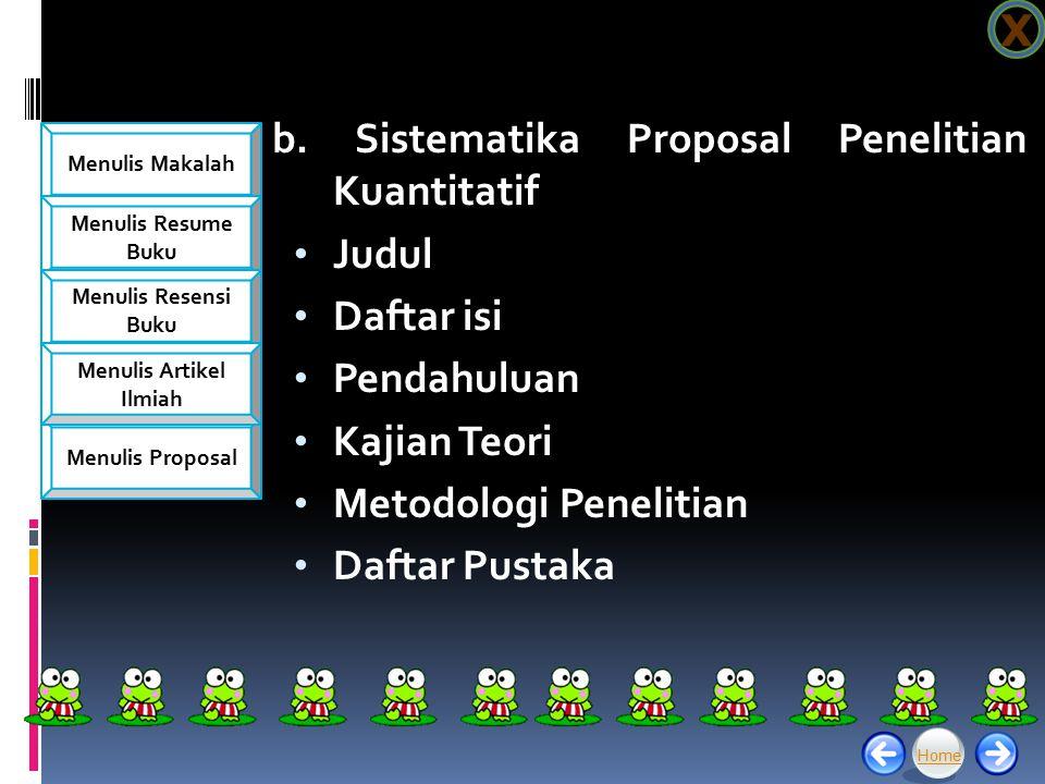 b. Sistematika Proposal Penelitian Kuantitatif Judul Daftar isi