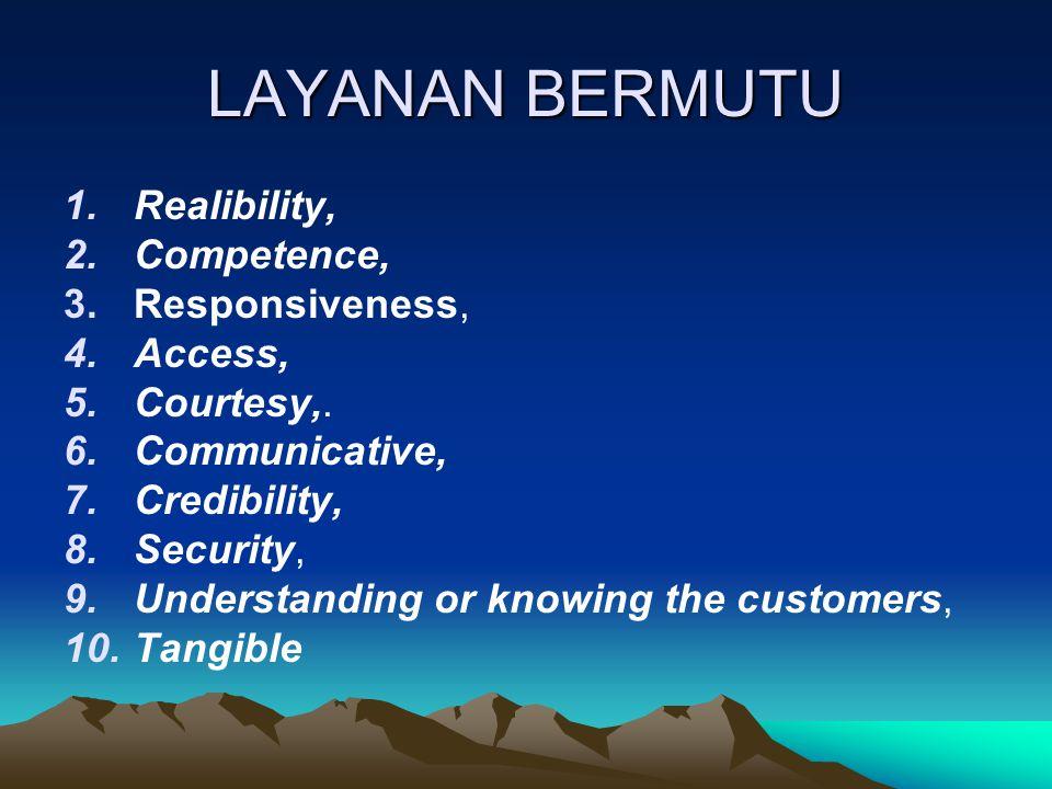 LAYANAN BERMUTU Realibility, Competence, Responsiveness, Access,