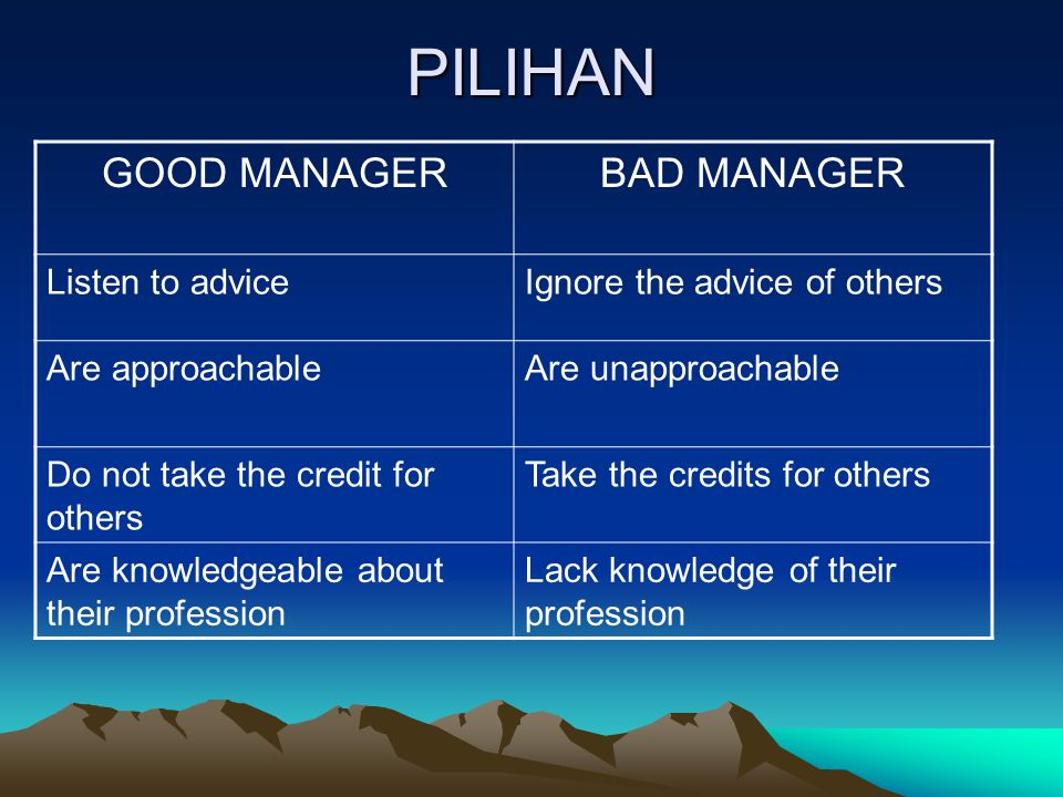 PILIHAN GOOD MANAGER BAD MANAGER Listen to advice