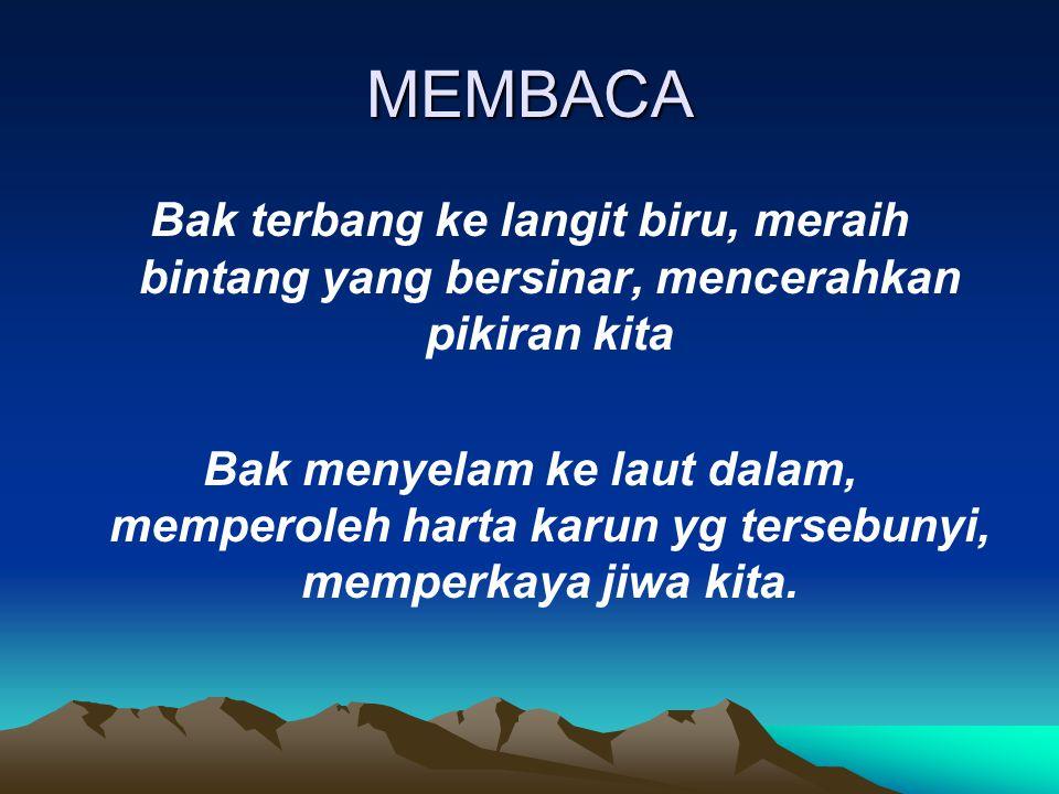 MEMBACA Bak terbang ke langit biru, meraih bintang yang bersinar, mencerahkan pikiran kita.