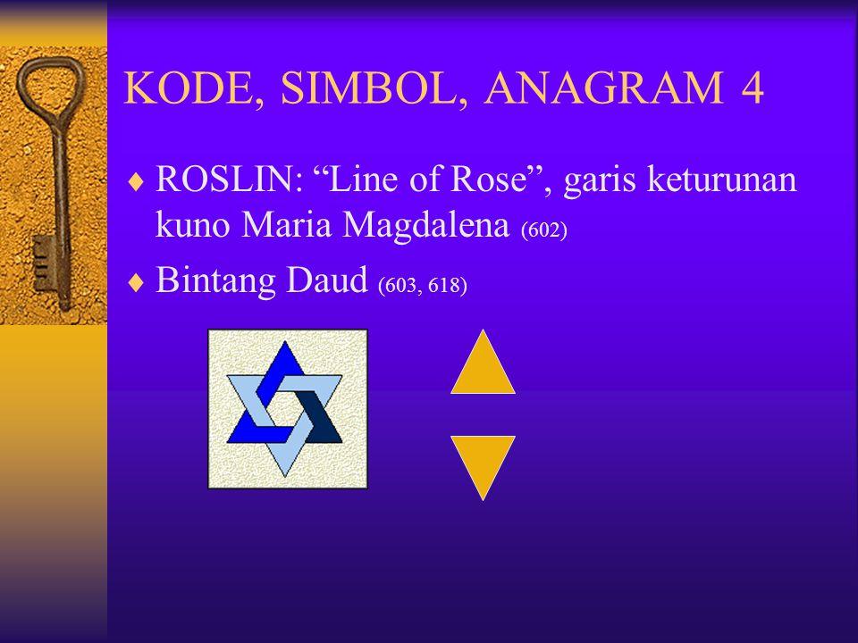 KODE, SIMBOL, ANAGRAM 4 ROSLIN: Line of Rose , garis keturunan kuno Maria Magdalena (602) Bintang Daud (603, 618)
