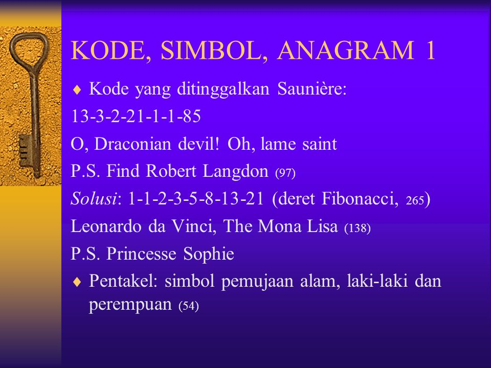 KODE, SIMBOL, ANAGRAM 1 Kode yang ditinggalkan Saunière: