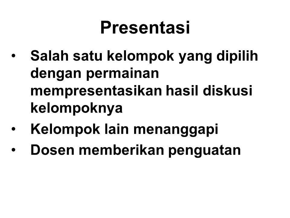 Presentasi Salah satu kelompok yang dipilih dengan permainan mempresentasikan hasil diskusi kelompoknya.