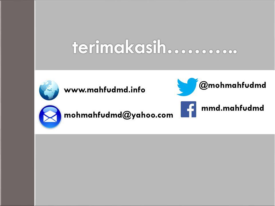 terimakasih……….. @mohmahfudmd www.mahfudmd.info mmd.mahfudmd