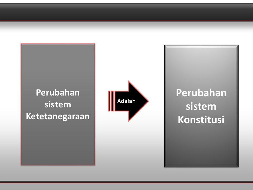 Perubahan sistem Ketetanegaraan Perubahan sistem Konstitusi