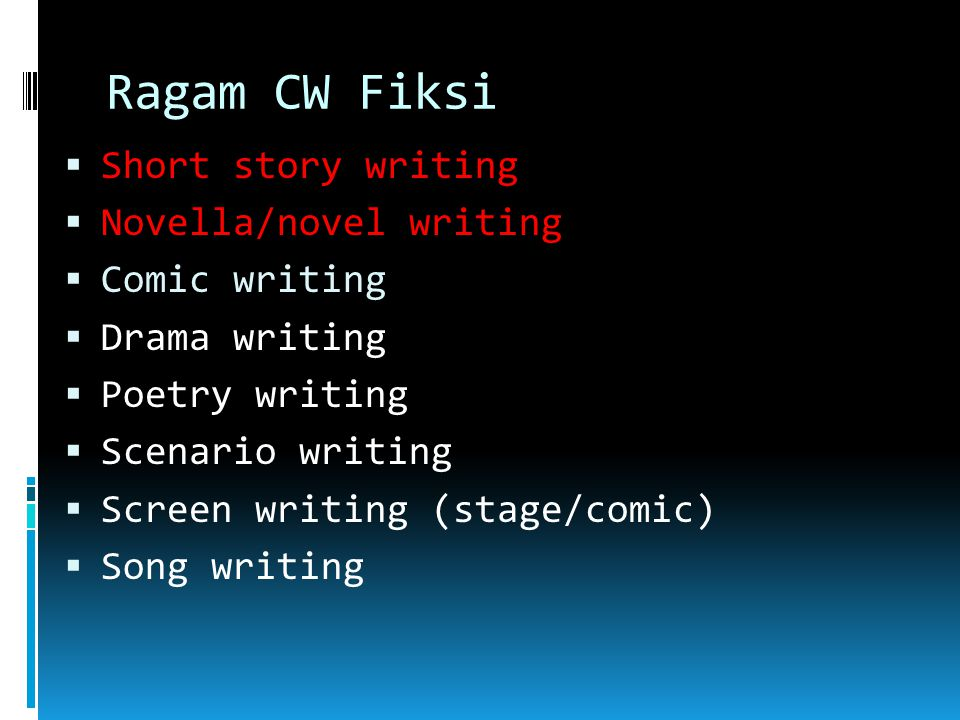 Ragam CW Fiksi Short story writing Novella/novel writing Comic writing
