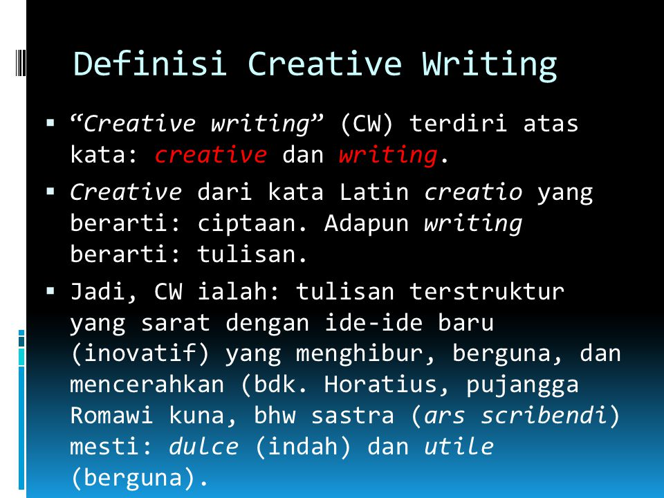 Definisi Creative Writing