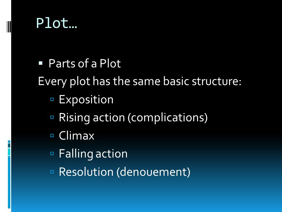 Plot… Parts of a Plot Every plot has the same basic structure: