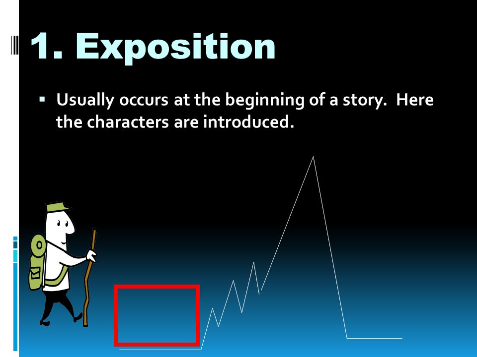 1. Exposition Usually occurs at the beginning of a story. Here the characters are introduced.