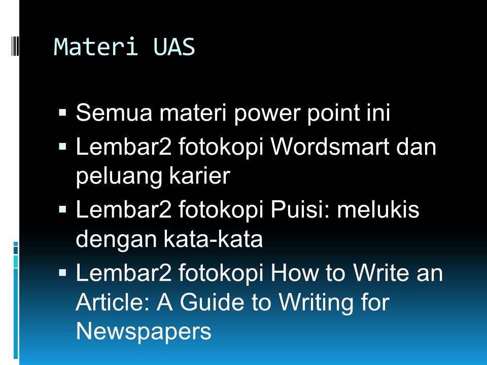 Materi UAS Semua materi power point ini