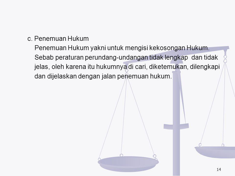 c. Penemuan Hukum Penemuan Hukum yakni untuk mengisi kekosongan Hukum