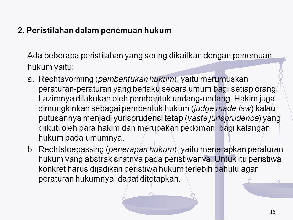 2. Peristilahan dalam penemuan hukum