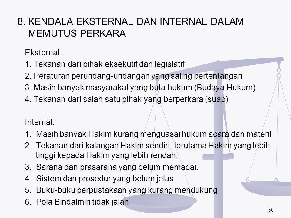 8. KENDALA EKSTERNAL DAN INTERNAL DALAM MEMUTUS PERKARA
