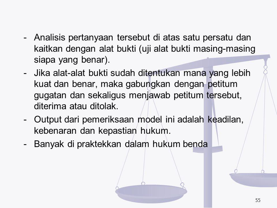 - Analisis pertanyaan tersebut di atas satu persatu dan kaitkan dengan alat bukti (uji alat bukti masing-masing siapa yang benar).
