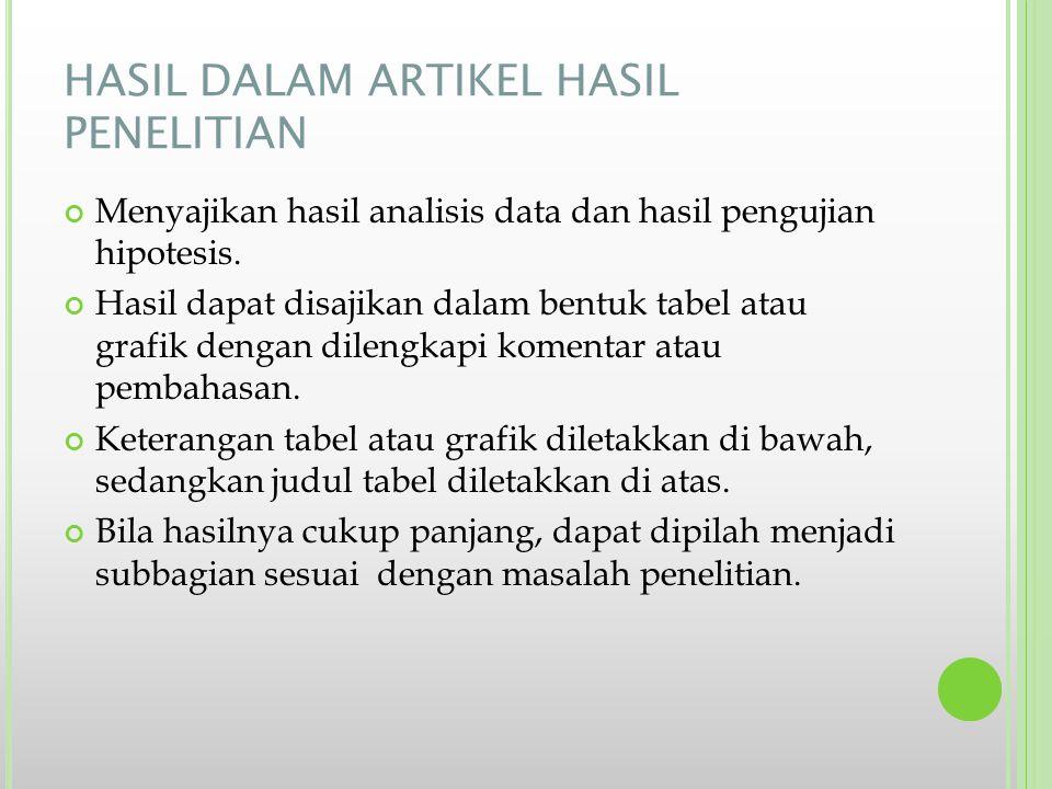 HASIL DALAM ARTIKEL HASIL PENELITIAN