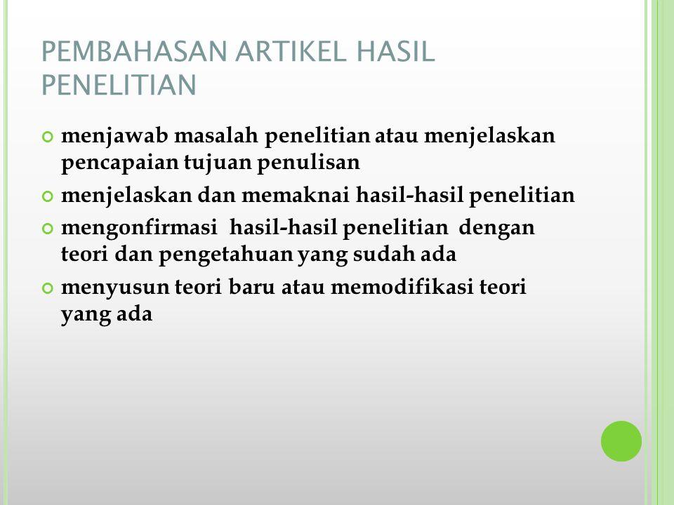 PEMBAHASAN ARTIKEL HASIL PENELITIAN