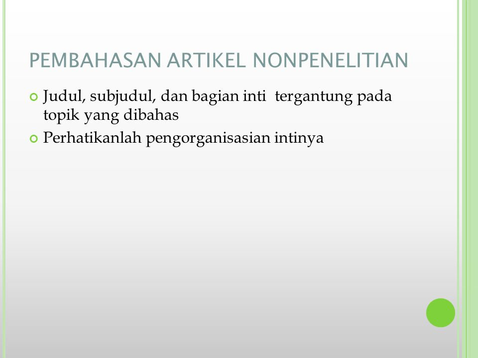 PEMBAHASAN ARTIKEL NONPENELITIAN